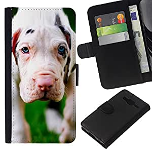 EJOY---La carpeta del tirón la caja de cuero de alta calidad de la PU Caso protector / Samsung Galaxy Core Prime / --Blanco Gran danés del perrito Perro Blanco
