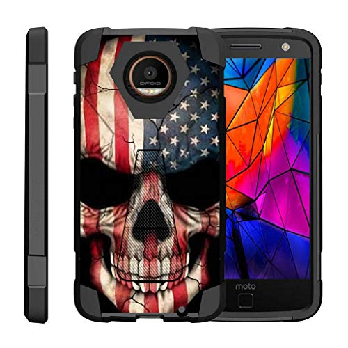 TurtleArmor | Compatible for Motorola Moto Z Force Droid Case | Z Force Droid Edition [Dynamic Shell] Hybrid Dual Layer Hard Shell Kickstand Silicone Case - US Flag Skull
