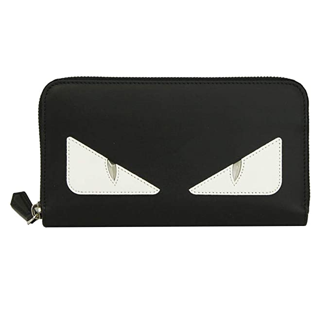 da580b61 Fendi Bugs Eye Black leather Zip Around Long Wallet 7M0210 A3DO ...