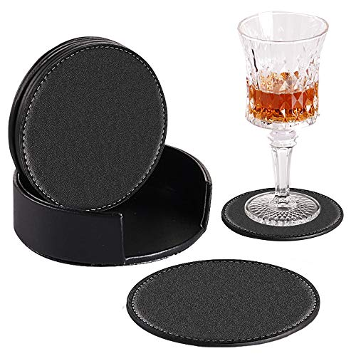 YAPISHI Drinks Coasters 6pcs with Holder, PU Leather Coffee Cup Pads Black Round Table Mats for Bar Kitchen Dinning, Avoid Water Stains or Damage Furniture, Housewarming Gift Idea for Home - Furniture Kids Coaster