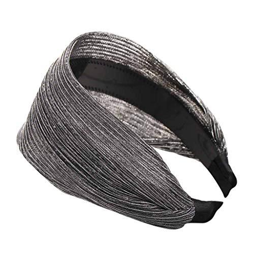 UROSA Fashion Solid Silk Simple Hairband Women Hair Head Hoop Girls Hair Headband Headwear Silver]()