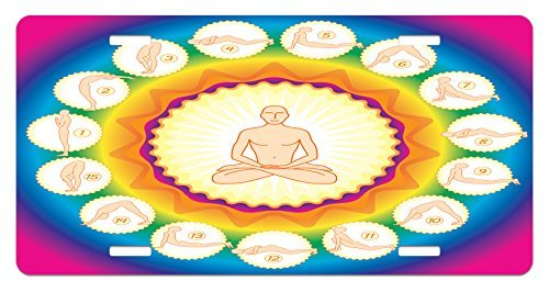 zaeshe3536658 Yoga License Plate, Yogi in The Lotus Posture and Exercises in Several Positions Surya Namaskar Vitality, High Gloss Aluminum Novelty Plate, 6 X 12 Inches. by zaeshe3536658