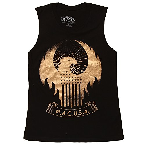 Harry Potter - Fantastic Beasts MACUSA Eagle Juniors Muscle Tank Top - Black (Medium)