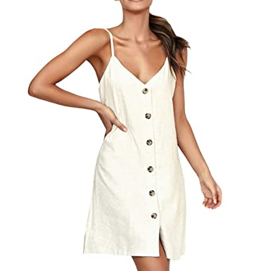 85679ac683a88 Amazon.com  Quelife Dress for Women Fashion V-Neck Ladies Solid Color  Buttons Casual Mini Dress Sling Tube Top Skirt Girl Summer  Clothing