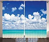 Ocean Decor Curtains 2 Panel Set Paradise Beach and Tropical Hawaiian Style Exotic Sky Color with Clouds Scenery Living Room Bedroom Decor Turquoise Azure White For Sale