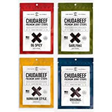 CHUDABEEF VARIETY PACK of Chewy Real Lean Prime Beef Jerky – Spicy, Original, Hawaiian Style, and Garliyaki (Four 2.25 oz Bags)