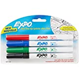 Expo Low-Odor Dry Erase Markers, Ultra-Fine Tip, 4-Pack, Assorted Colors