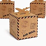 AHAPPY 2.2'' x 2.2'' x2.2'' 50Pcs Retro Airplane Mail Kraft Paper Candy Boxes