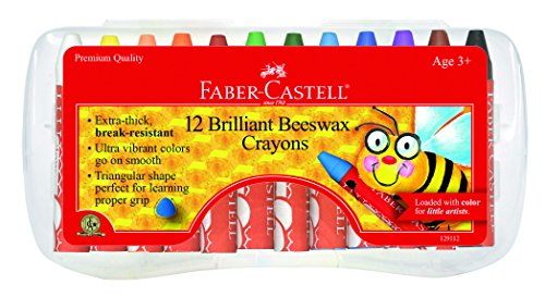 Faber-Castell Beeswax Crayons in Durable Storage Case, 12 Vibrant Colors -