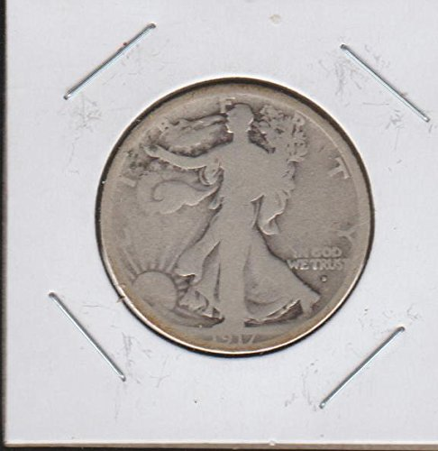 1917 D Liberty Walking (1916-1947) (Obverse Mintmark) Half Dollar Very Good
