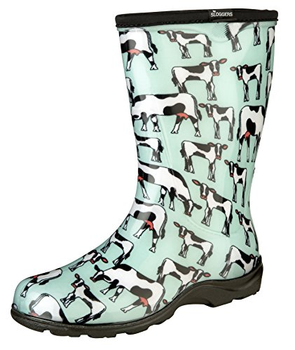 Sloggers Women's Waterproof Rain and Garden Boot with Comfort Insole, Cow-abella Mint, Size 8, Style 5017CWM08