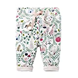 Hongshilian Boys Girls Cotton Drawstring Elastic Sweatpants Kid's Cartoon Pants (5T, Animal & White)