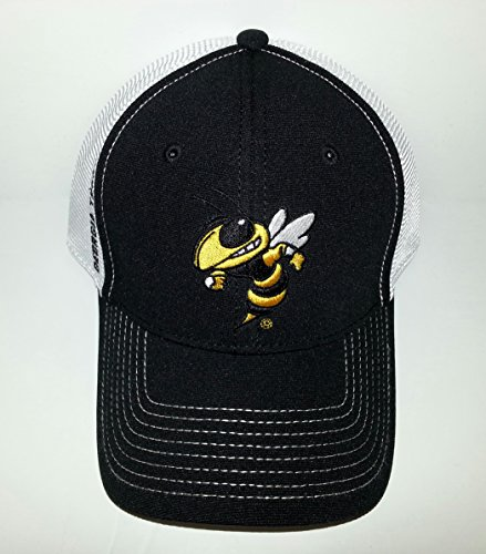 (Georgia Tech Buzz Yellow Jackets Adjustable Buckle Hat Embroidered Mesh back Cap)