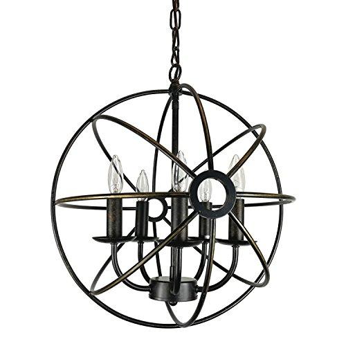 Antique Bronze 5 Light Pendant Chandelier in Florida - 5