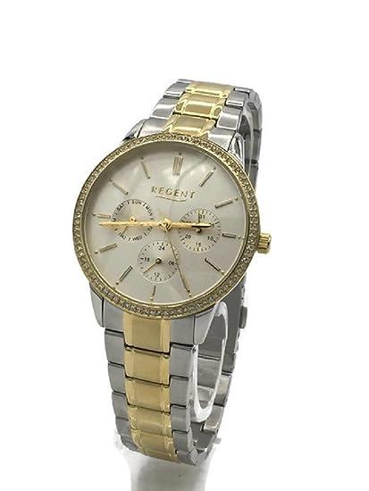 Regent Reloj mujer correa de metal bicolor oro/plata piedras Fecha dm3013