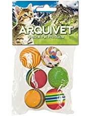 Arquivet Kleurrijke ballen - speelballen voor katten - accessoires voor katten - opvallende ballen voor katten - kattenspel - 3,5 cm (zak 6 stuks)