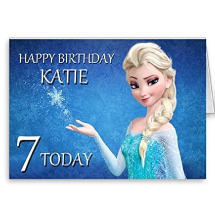 Personalised Disney Frozen Elsa Birthday Card Amazoncouk Kitchen Home