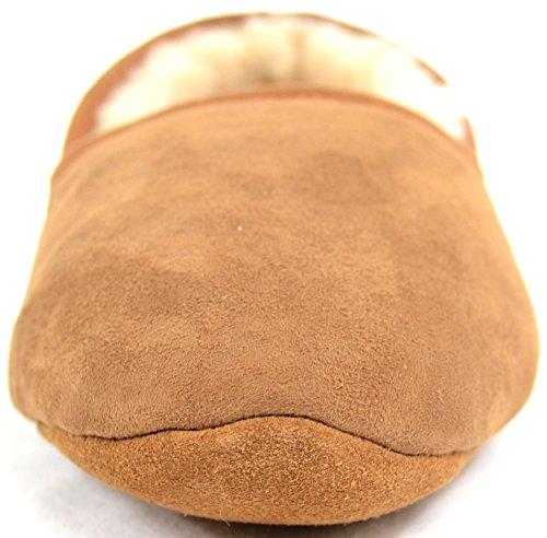 Snugrugs Pantoufle En Véritable Peau De Mouton De 100% Véritable Luxe Avec Semelle Souple Châtaigne