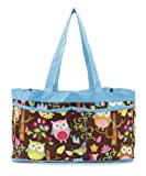 Give a Hoot Owl with Blue Trim Collapsible Multiple Pockets Organizer Utility Tote Bag Caddy