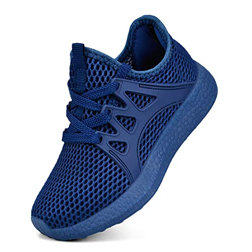 Sunnycree Boys Shoes Lightweight Breathable Athletic Sneakers Running Walking Gym Shoes Blue Size 3 (Best Indoor Gym Shoes)