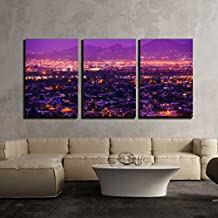 "wall26 - 3 Piece Canvas Wall Art - Phoenix Arizona Suburbs at Night. Phoenix, United States. City Panorama. - Modern Home Decor Stretched and Framed Ready to Hang - 24""x36""x3 Panels"