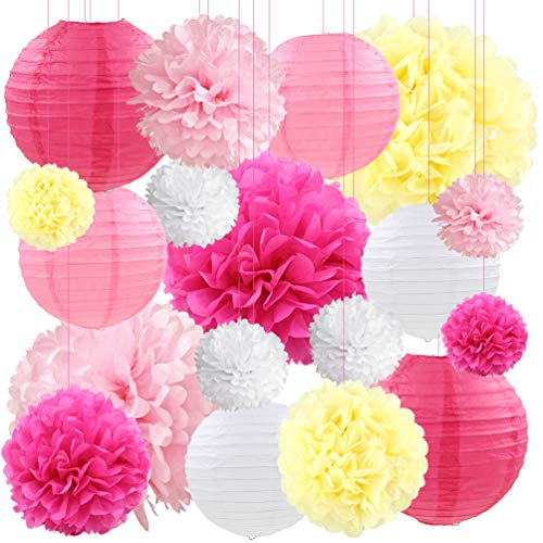 Pink Paper Lanterns Decorative Hanging Tissue Paper Pom