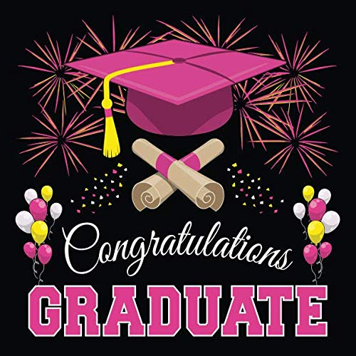 Graduation Guest Book: Congratulations Graduate GuestBook + Gift Log | Class of 2019 Graduation Party Memory Sign In Keepsake Journal | Black Pink -