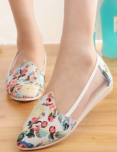tejido 5 Zapatos us6 5 7 casual Uk6 Zq planos Redonda Eu39 Cn37 punta Mujer De White Cn39 White Plano us8 Gyht 5 tacón Blanco Uk4 azul Eu37 qwSHw5Rvx