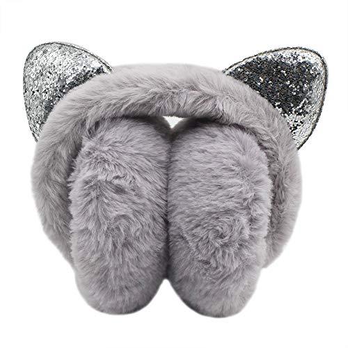 Orityle Winter Women Foldable Faux Fur Earmuff with Cute Sequins Cat Ear for Girls Ladies