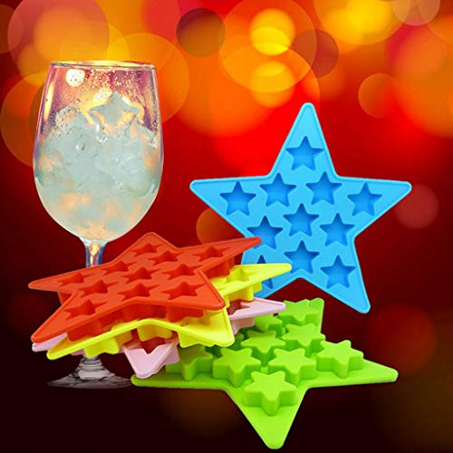 (Creative Star Pentagram Shape Silicone Mold, KCPer Ice Cube Tray Cake Mould Cooking Tools for Party Bar DTY Drinking Wine Whiskey Beer Juice (Red))