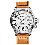 CURREN Men's Quartz Watch Date and Week Display Waterproof Leather Strap 8270