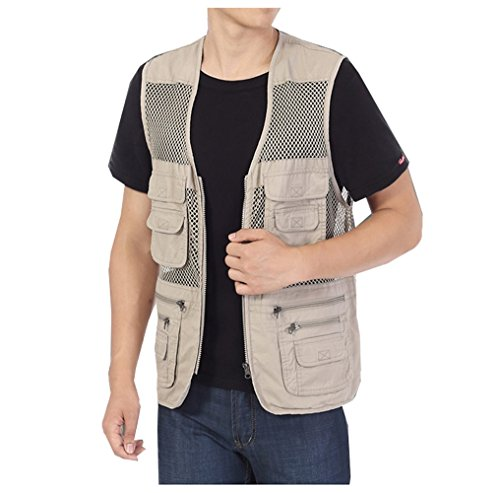 Men's Mesh Fishing Vest Photography Work Multi-Pockets Outdoors Journalist's Vest Jacket (W Khaki, X-Large)