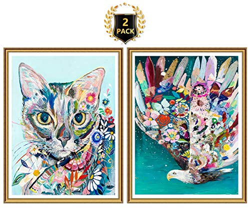 (Yomiie 5D Diamond Painting Oil Cat & Eagle Full Drill by Number Kits for Adults, Colorful Animal Paint with Diamond Art DIY Rhinestone Embroidery Cross Stitch Craft Decor (12x16inch, 2 Pack) )