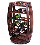 Cheap Vintiquewise QI003284L Large Wooden Barrel Shaped 23 Bottle Wine Rack