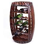 Vintiquewise QI003284L Large Wooden Barrel Shaped 23 Bottle Wine Rack