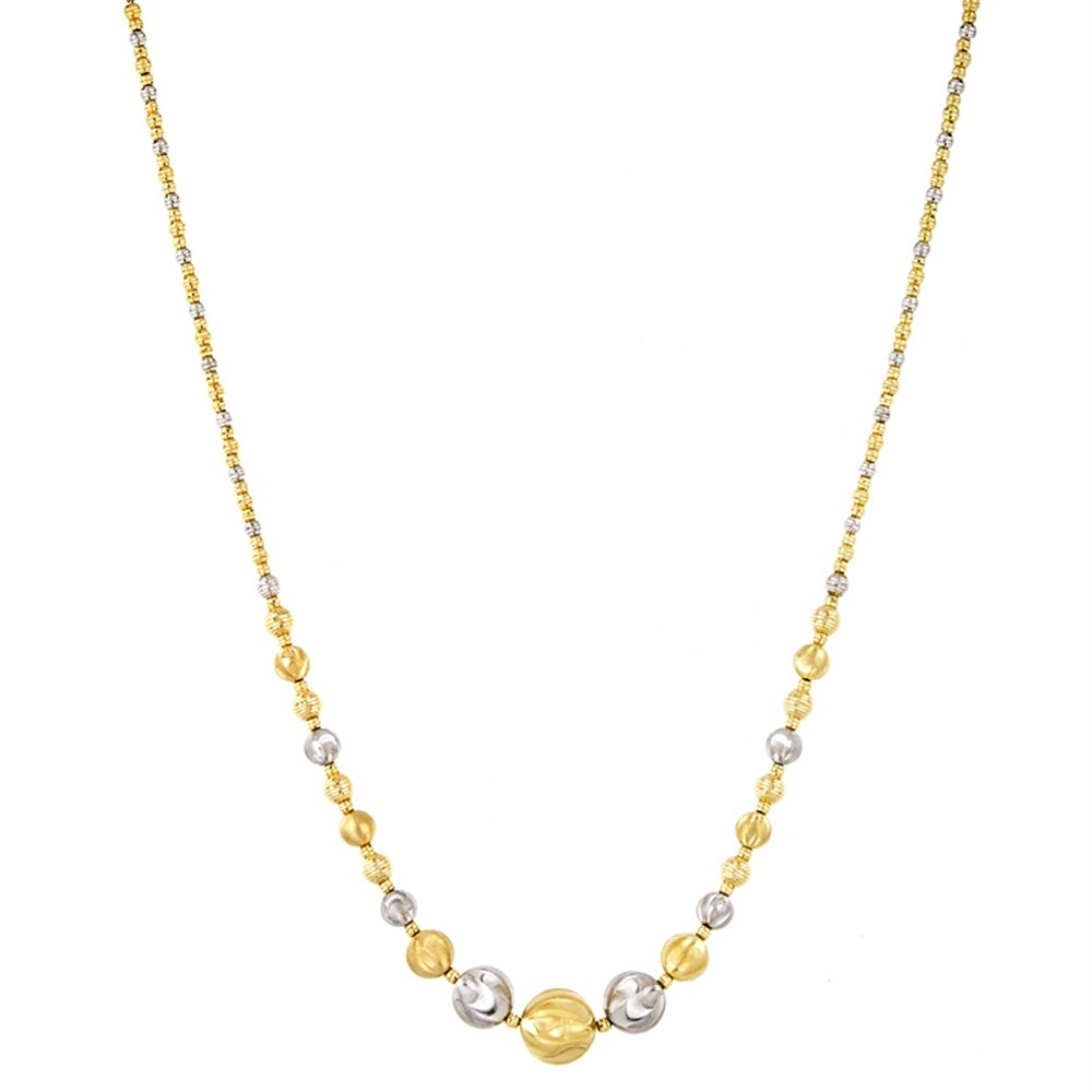 18k Two-Tone Gold 12-2mm Ball Modern Necklace - 18''