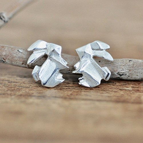 Origami Bunny Rabbit Earrings in Sterling Silver 925 -