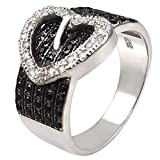 Sterling Silver Fancy Micro Pave Clear and Black Cz Heart Buckle Design Ring with Ring Width of 13MM