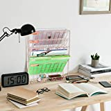 samstar Wall File Holder Organizer, Mesh Metal Door Wall Mounted Paper Document Holder for Office Home 6 Tier,Gold