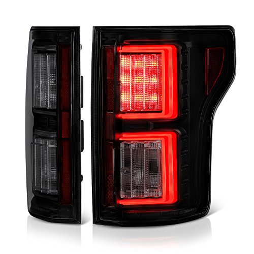 - [For 2015-2017 Ford F-150] VIPMOTOZ Premium OLED Neon Tube Tail Light Lamp - Black Housing, Smoke Lens, Driver and Passenger Side