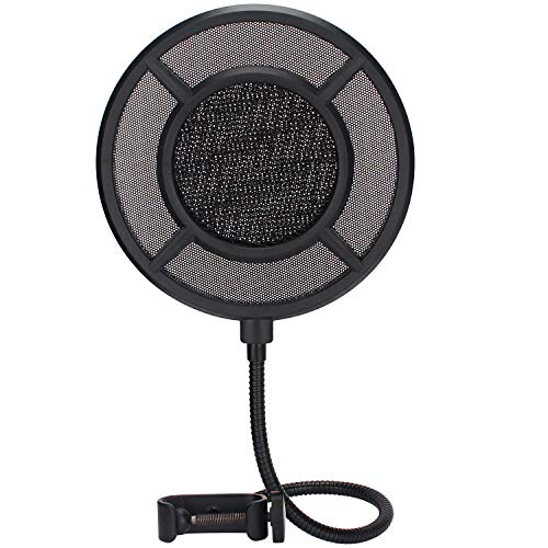 Microphone Pop Filter 6 inch Studio Mic Round Shape Pop Filter Mask Shield with Mesh Metal Mezzanine, Flexible Gooseneck and Mic Stand Clamp