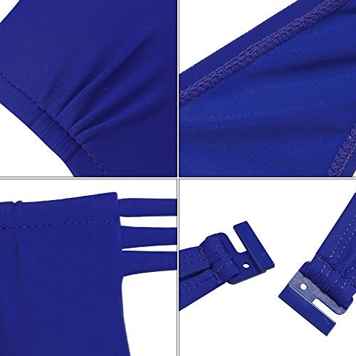 Coorun Mujer Bañador Bikini Deportivo Halter push up Sujetador Rellenado con aro Azul marino