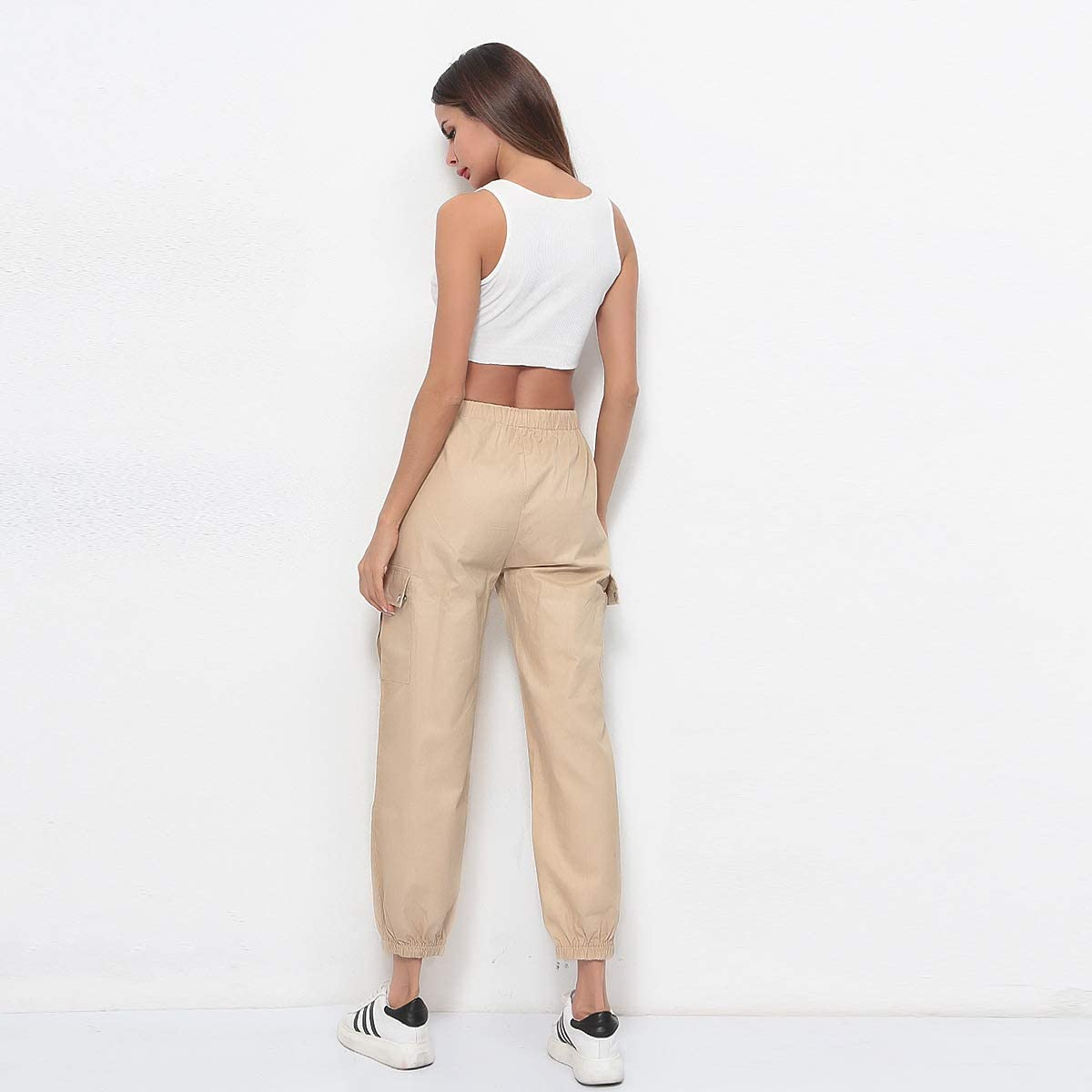 Pantaloni Donna Pantaloni Cargo con Tasche Harem Hip Hop Pantalone Casual Lunghi Pants Punk Rock