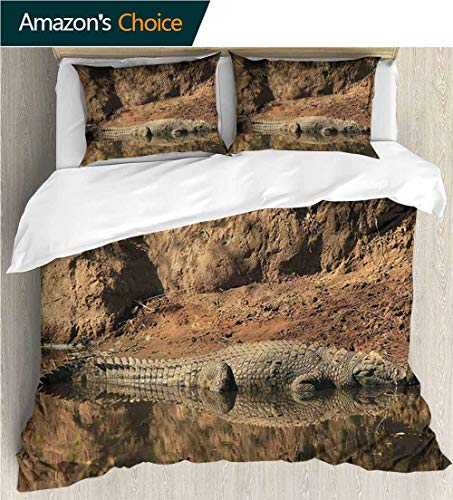 (VROSELV-HOME Full Queen Duvet Cover Sets,Box Stitched,Soft,Breathable,Hypoallergenic,Fade Resistant Duvet Cover with Pillowcases Child Bedding Sets,-Africa Crocodile Hunt in Wild (87
