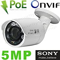USG Business Grade Sony Chip 5MP H.265 IP PoE Bullet Security Camera : 2592x1944 5MP 2.8mm Wide Angle Lens, IR LEDs, Weatherproof, ONVIF 2.6 : View on Phone, Computer + NVR