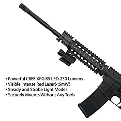MCCC Tactical Red Laser Sight with 230 Lumens CREE LED Flashlight, Compact Rail Mounted, Quick Release, 1XCR123A Battery (Included)