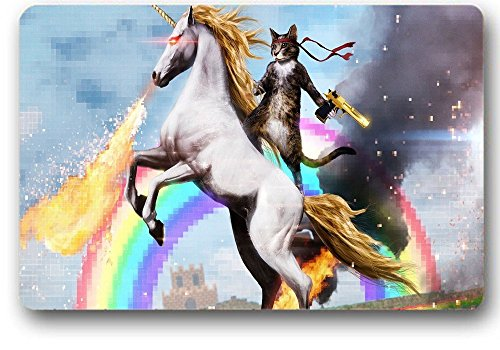 NINNAYUAN Personalized fun_ unicorn and cat indoor/outdoor/bathroom doormats