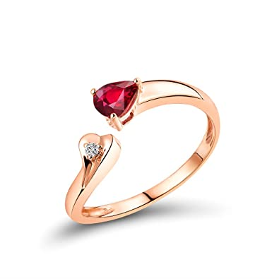 188685c8c45 Image Unavailable. Image not available for. Color  Lanmi Women s Solid 14K  Rose Gold Pear Ruby Gemstone Diamond ...