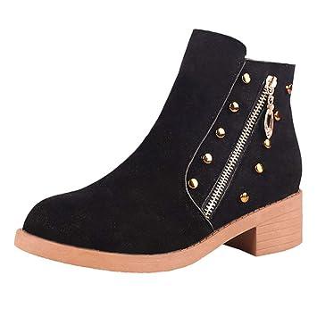 LuckyGirls Botas de Nieve de Mujer Moda Botine Botina Zapatillas Casuales Calzado Zapatos con Cierre Remaches