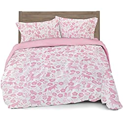 Where The Polka Dots Roam Full/Queen Duvet Cover Pink Folk Animals - Set with 2 Pillowcases for Kid Bedding by (L 90in x W 92in) …